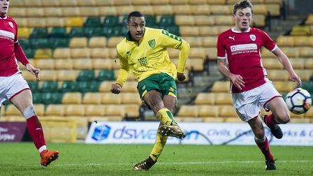 Adam Idah scores his third goal during the FA Youth Cup win over Barnsley at Carrow Road. Picture: