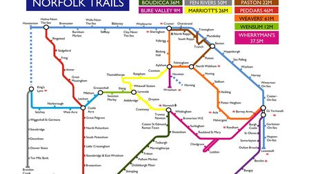 The Norfolk Trails tube style map. Image: Norfolk County Council