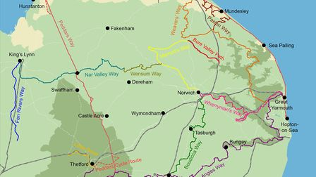The geographic map of the region's walking trails. Image: Norfolk County Council