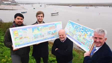At the launch of the new Peddars Way and Norfolk Coast Path maps are members of the Norfolk Trails t