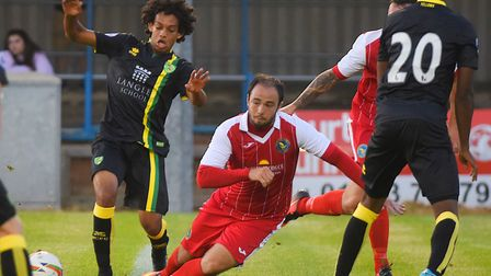 Sam Gaughran in action for King's Lynn against Norwich City U23s during pre-season. Picture: Ian Bur
