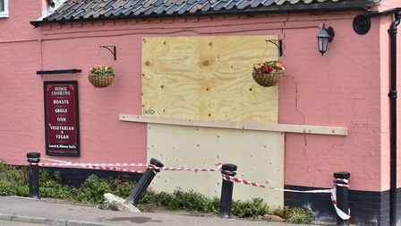 Damage to the Brick Kilns pub at Little Plumstead after a car crashed into the wall.Picture: ANTONY