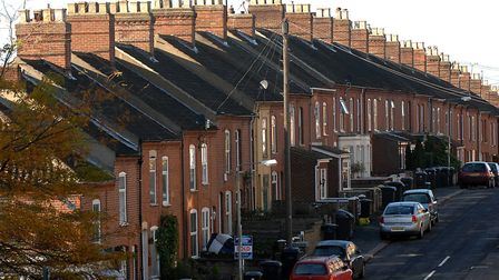 Terraced housing on Beaconsfield Road, Norwich.<housing mortgage estate agents sale terracinghomes f