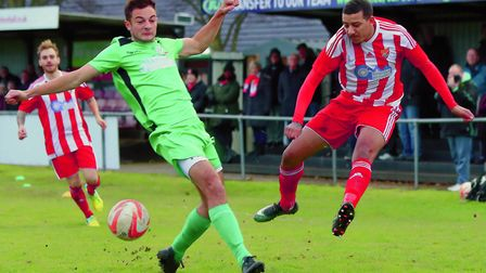 Action from Gorleston's defeat to leaders Felixstowe. Picture: STAN BASTON.