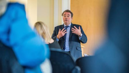 GMC Chief Executive, Charlie Massey, talking to doctors on his visit to NSFT. Photo: NSFT