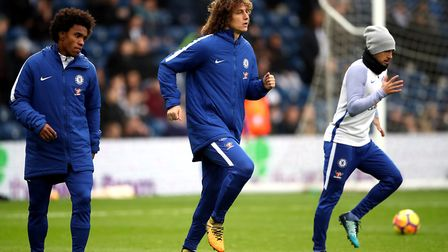 David Luiz, centre, is in line for a return to the Chelsea side at Carrow Road this evening. Picture