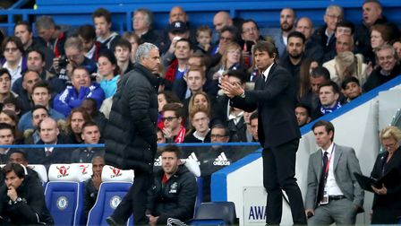 Difference of opinion - Antonio Conte, right, and Manchester United manager Jose Mourinho. Picture:
