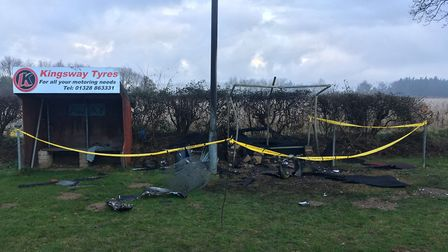 The damage left after the arson attack at Fakenham Rugby Club. Picture: ADAM LAZZARI.