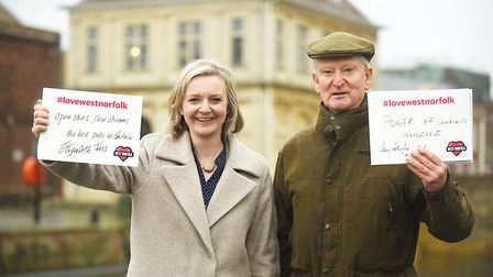Sir Henry Bellingham and Liz Truss MP at the launch of the Love West Norfolk campaign. Ian Burt