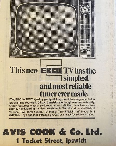 Rotary tuner. Woo. A TV ad from 1968. Picture: ARCHANT