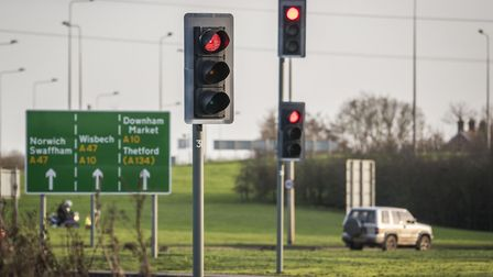 The traffic lights on the Hardwick Roundabout in King's Lynn. Picture: Matthew Usher.