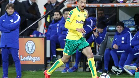 Chelsea boss Antonio Conte watches Jamal Lewis push forward for Norwich City at Carrow Road. Picture