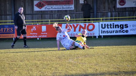 Norwich City Ladies captain Emily Moerkerk wins the ball against MK Dons. Picture: Brian Coombes