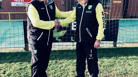 Grant Palmer, left, with Mel Swift after being named Norwich City Ladies' new manager. Picture: Bria