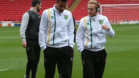 Norwich City winger Josh Murphy with Alex Pritchard, who has been heavily linked with a Premier Leag
