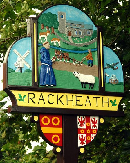 Village sign at Rackheath, possible site of an eco-town; Photo: Bill Smith; Copy: Ed Foss; For: EDP;