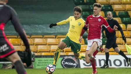 Max Aarons is expected to overcome illness to feature against Derby for Norwich City U18s. Picture b