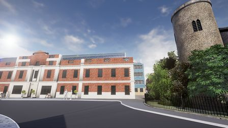 The redeveloped shoe factory at St Mary's Works could have a glass roof. Pic: Architekton