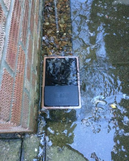 Sewage water flowing from a drain in Meadow Drive, Hoveton. Picture: Dave Martin