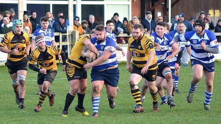 Lowestoft & Yarmouth on the attack during their 52-5 defeat at the hands of Ely Tigers at Gunton Par