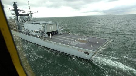 A view from the Lynx as it lands on HMS Norfolk. Picture: James Bass