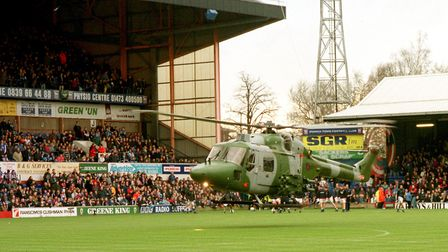 A Lynx lands with the matchball at Ipswich FC's Portman Road ground. Picture: Jamie Niblock.