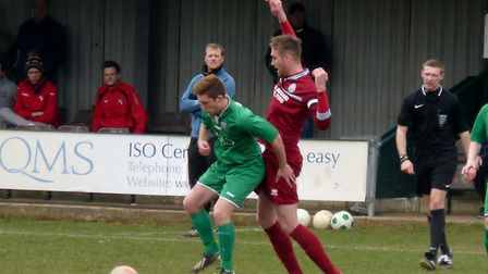 Nathan Russell bagged a brace for Gorleston against Fakenham. Picture: David Hardy