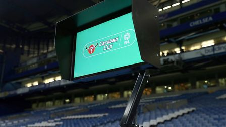A view of the Video Assistant Referee (VAR) system pitchside before the Carabao Cup Semi Final, Firs