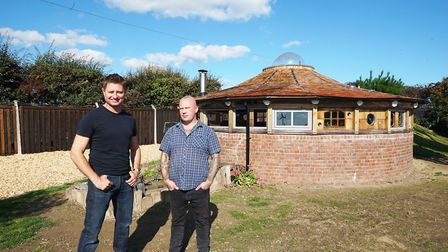 George Clarke and Reuben Youngblood stand in front of the latter's new chill-out zone created from a