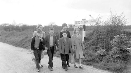 Children walking at Burgh Castle in April 1960. Back in the day, almost everyone used 'Shanks' pony'