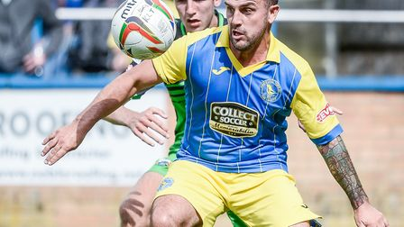 Linnets striker Leon Mettam - looking back to his old self, says boss Ian Culverhouse. Picture Matth
