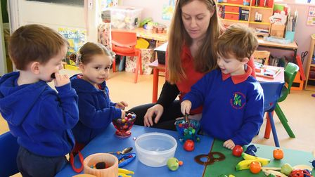 Kenninghall Pre-school Nursery manager, Karen Webster, with three of the youngsters from left, Matth
