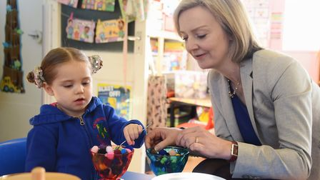 MP Liz Truss with Ayla Watson, two, during her visit to the Kenninghall Pre-school Nursery, which is