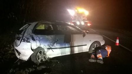 Police say a curry caused this car crash. Picture: BCH road policing