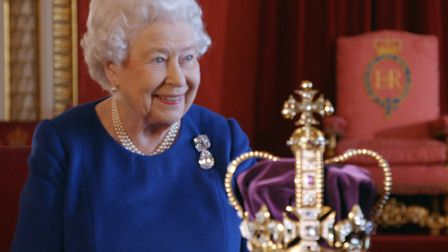 BBC handout photo from the documentary The Coronation, of Queen Elizabeth II with St Edward's Crown.