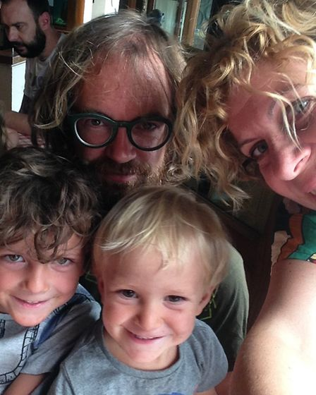 Clockwise from top left, Daniel Draper, wife Enrica, two-year-old Ettore and five-year-old Ulisse. P
