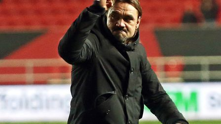 Daniel Farke salutes the travelling Norwich City support at Ashton Gate, following Championship vict