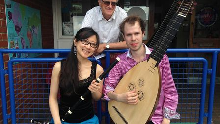 Muscians Yu-Wei Hu and Johan Loftving with Classical Music Rocks founder Peter Barker. Picture: Arch