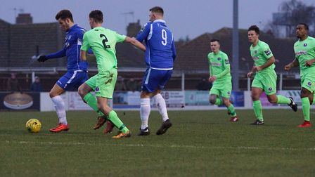 Action from the match between Lowestoft and Dorking. Picture: Shirley D Whitlow