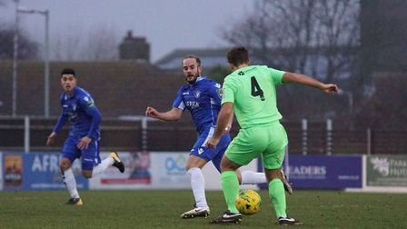 Lowestoft midfielder Andrew Fisk in action against Dorking. Picture: Shirley D Whitlow