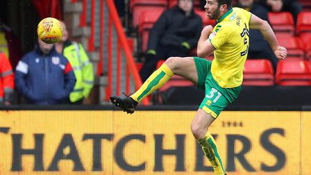 Grant Hanley clears Norwich City's lines during an axcellent individual performance in victor over B