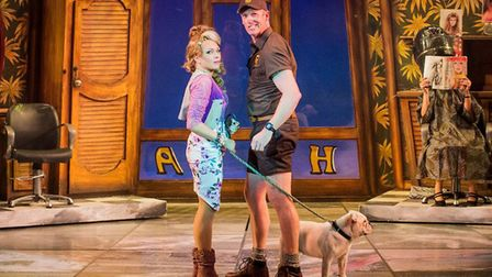 Rita Simons (as Paulette) and Ben Harlow (as Kyle) with Rufus the dog in Legally Blonde The Musical.