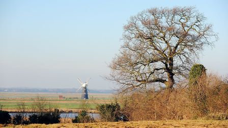 Berney Arms mill viewed from Burgh Castle near Great Yarmouth. Picture: James Bass