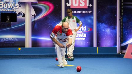 World singles championship action between Mark Royal (red) and Scott Walker. Picture: Nick Butcher
