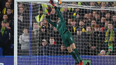 Angus Gunn of Norwich makes a great save from a Danny Drinkwater shot during the Third Round FA Cup