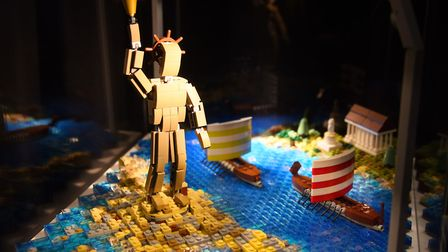 One of the Seven Wonders of the World, the Colossus of Rhodes, made from 1200 lego bricks, at the Br