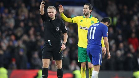 Pedro is red-carded after his second yellow... both were thoroughly deserved. Picture: Paul Chestert