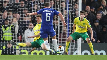 Danny Drinkwater of Chelsea has a shot on goal during the Third Round FA Cup Replay match at Stamfor