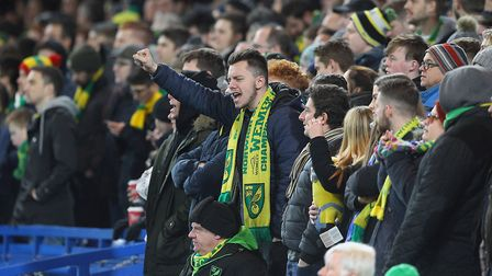 The traveling Norwich fans during the Third Round FA Cup Replay match at Stamford Bridge, LondonPict