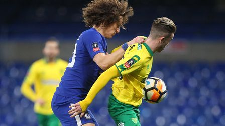 David Luiz of Chelsea and James Maddison of Norwich in action during the Third Round FA Cup Replay m